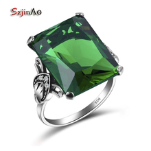 Szjinao 100% 925 Sterling Silver Jewelry Vintage Wedding Rings For Women Female Geometric Ring Green Birthstone Wholesale