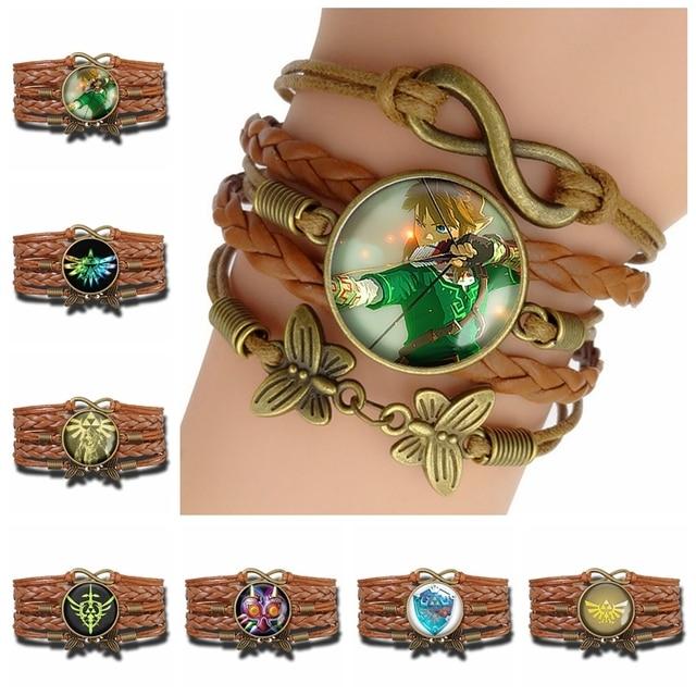Bracelets Fashion Légende de Zelda Cuir verre cuivre