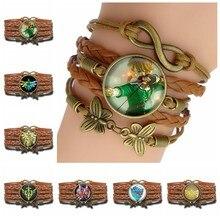 3980804457a9 La leyenda de Zelda multicapa pulsera de cuero Maestro de juego espada y  escudo Logotipo de cúpula de vidrio pulsera de moda Ani.