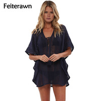 Feiterawn 2017 Swimsuit Women Sexy Navy Blue Flounce Trim Beach Dress Cover Up Pareo Sarong Hollow