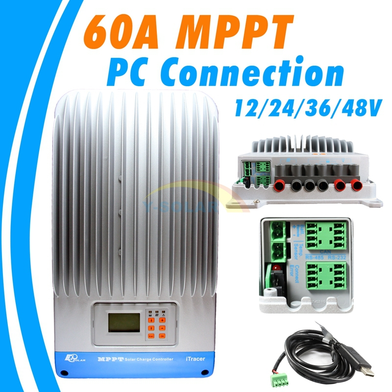 60A MPPT Solar charge controller with LCD MPPT charger controller solar panel battery Light and dual timer 12V 24V 36V 48V 60a 12v 24v 48v mppt solar charge controller with lcd display and rs232 interface to communicate with computer