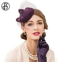 Queen 100 Wool Pillbox Hats With Veil For Women Fedora Purple Wedding Dress Hat England Style