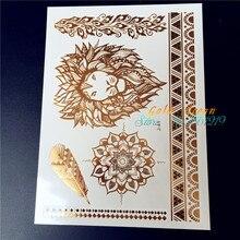 25 Styles Hot Gold Metallic Lion Tattoo Flash Mandala Flower Tatoo For Women Body Art Fake Waterproof Temporary Tattoo Stickers