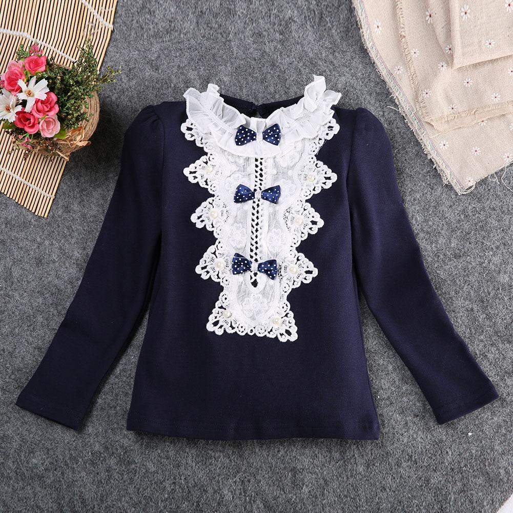 Lovely Autumn Spring Long Sleeve Lace Princess Blouse For Baby Girl Blouses Children Girl Blouse Shirt Shrug Shoulders