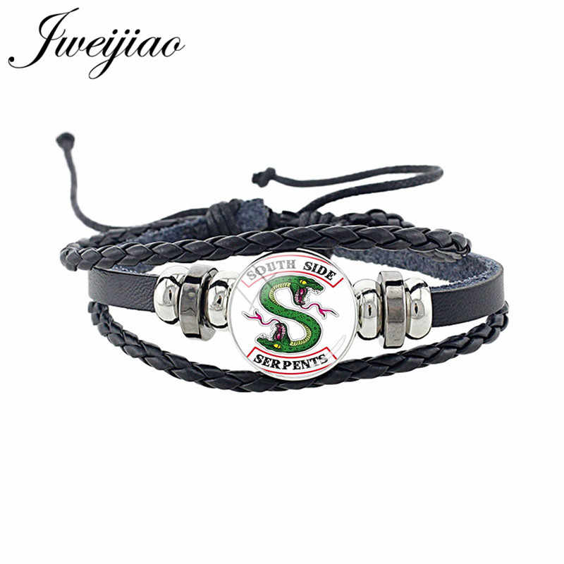 JWEIJIAO Punk Men's Riverdale Bracelet PU Leather Multilayer Charm Cord Bracelet Bangles Glass Cabochon Dome Jewelry MR09