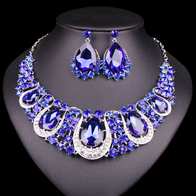 Fashion indian jewellery crystal necklace earrings set for Aana decoration wedding accessories