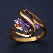 women men fashion popular ring Oval Purple crystal gold ring wedding prom prom Jewelry Gifts ring size 6 7 8 9 10(China)