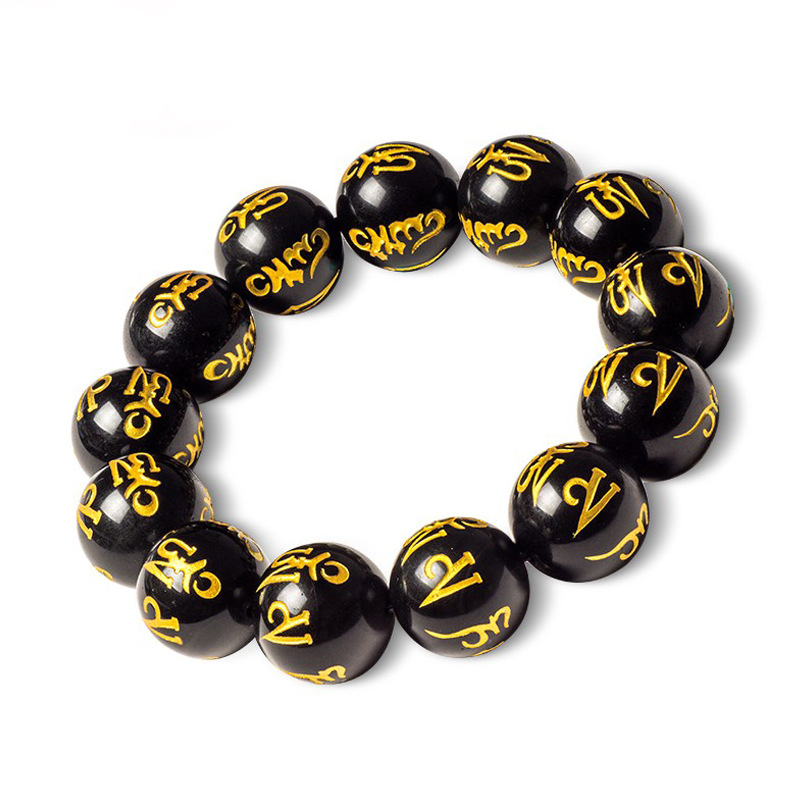 SUTI Round Black Onyx Beads with Tibetan Buddhist Six Words Mantras Bead Natural Stone Beads Bracelets for men&women Gifts