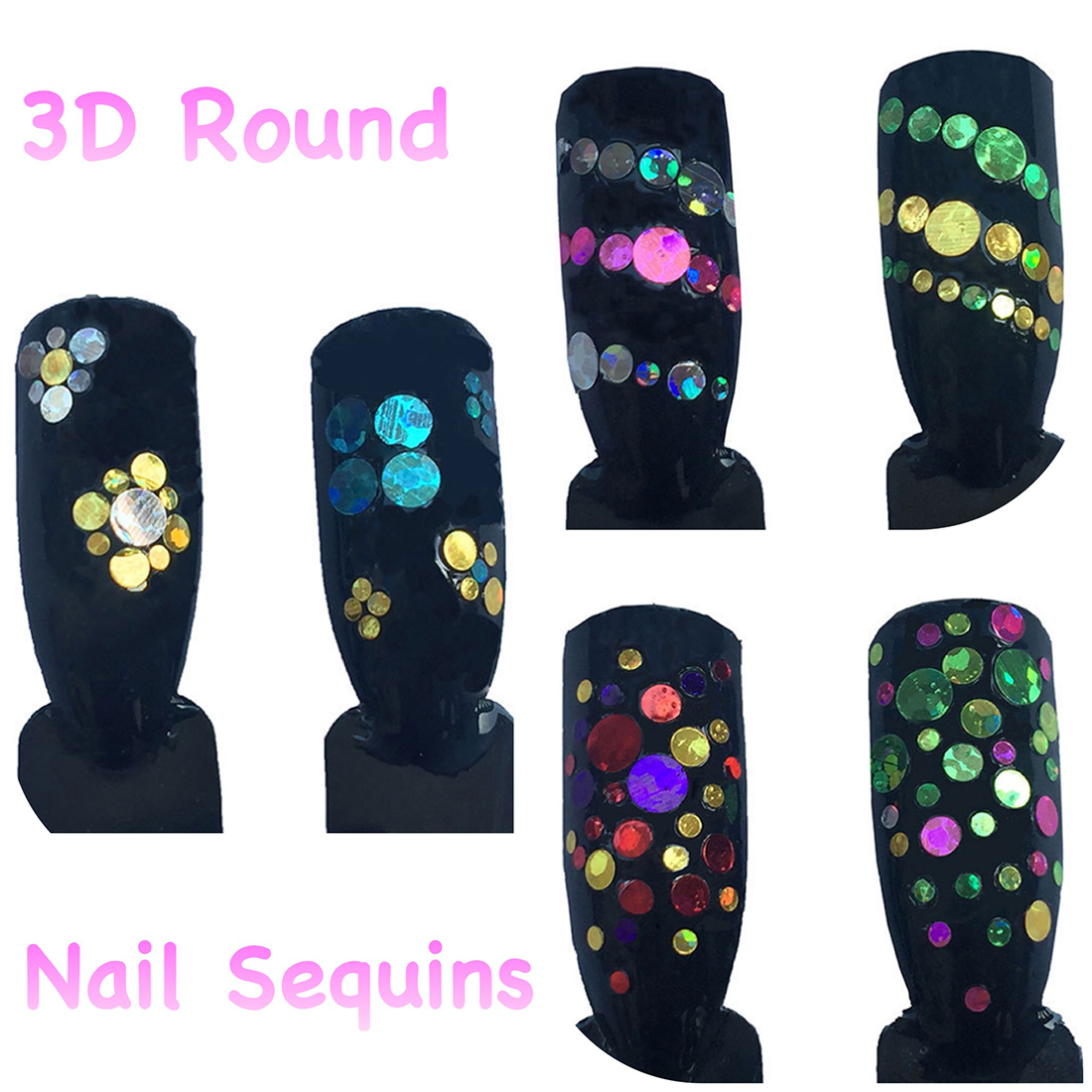 Color round laser sequins nail patch ornament nail art decoration laser embossed sequins mixed nail nail glitter sequins