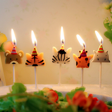 5 adet/takım hayvan mum kek Topper hayvanat bahçesi parti hayvan doğum günü mum için çocuk doğum günü partisi kek mum kek dekorasyon malzemeleri
