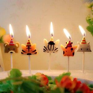 Image 1 - 5 개/대 동물 촛불 케이크 토퍼 동물원 파티 동물 생일 촛불 아이 생일 파티 케이크 촛불 케이크 장식 용품