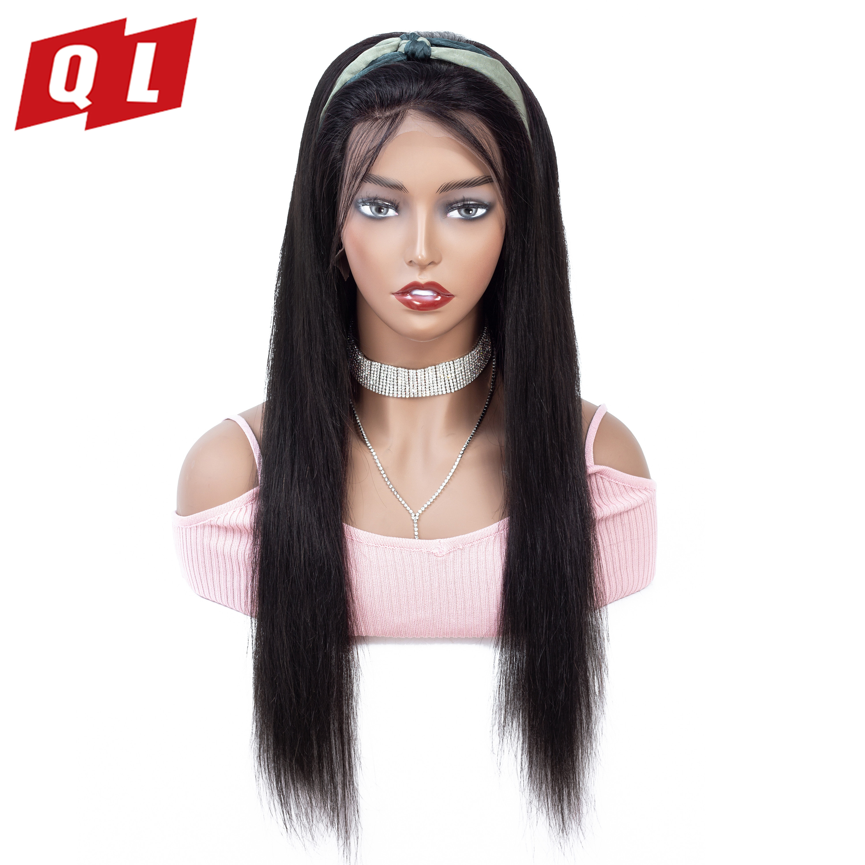 Pelucas delanteras de encaje QLOVE 13*4 pelucas de cabello humano recto brasileño peluca frontal de encaje Remy de Color Natural con bebé pelo 150 de densidad-in Peluca de encaje de cabello humano from Extensiones de cabello y pelucas on AliExpress - 11.11_Double 11_Singles' Day 1