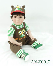 20 inches 50cm silicone baby reborn dolls, lifelike  gifts  children's toys Cute doll brown pants