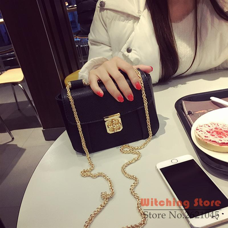 ФОТО Perfect# 2016 new winter Crossbody lock mini mobile phone chain bag package a small square FREE SHIPPING