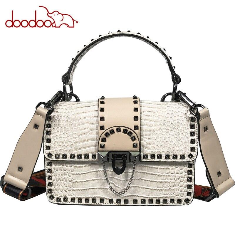 Designer Crocodile Pattern Leather Bags Famous Brand Women Bags Rivet Wide Shoulder Strap Clutch Fashion Shoulder Messenger Bags