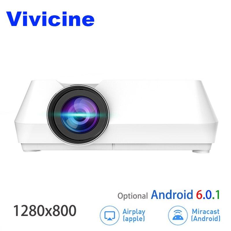 Vivicine Mini LED Projecteur, Portable Multimédia Vidéo Projecteur pour le Film Jeux En Option 1280x800 Android WIFI Bluetoot Beamer