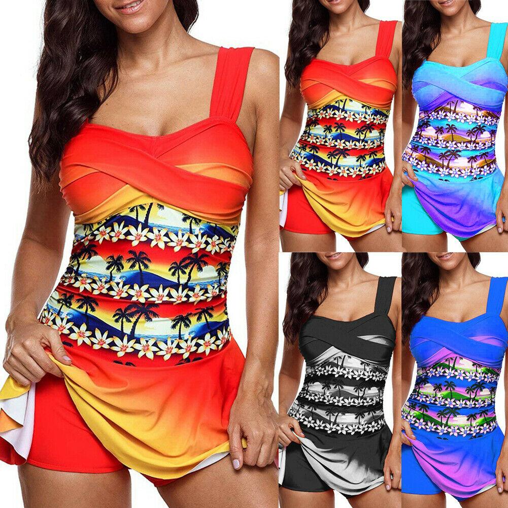 Plus Size Women Tankini Swimdress Swimsuit Beachwear Padded Swimwear Bikini Set  Sexy Women Push Beach Party Print 2Pcs Set