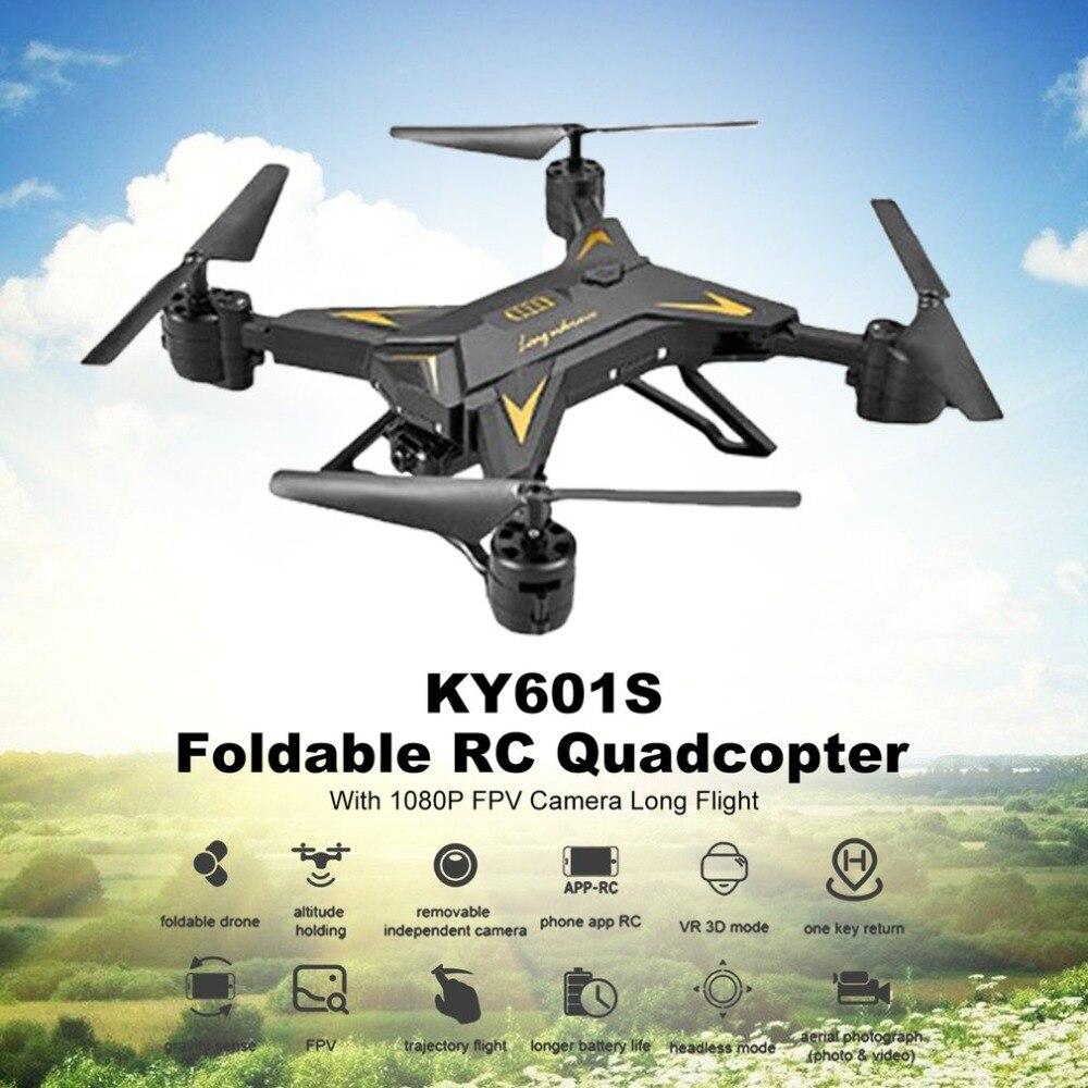 KY601S Full HD 1080 P 4 canales de larga duración plegable brazo RC quadrocopter con cámara Drone WIFI oportuna transmisión nuevo regalo de Año