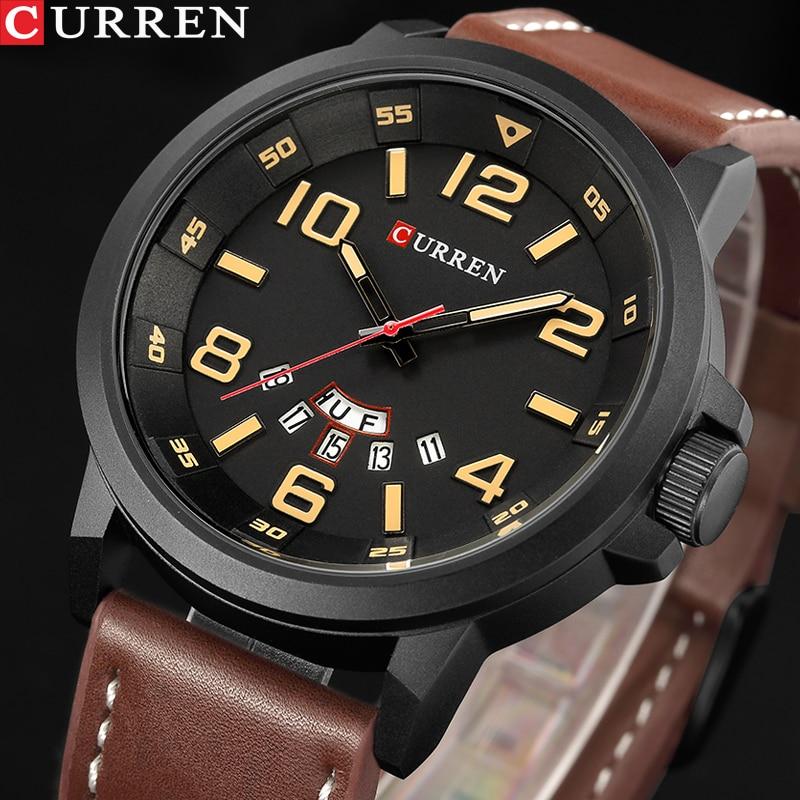 Top Brand Luxury CURREN Men Sports Watches Men's Army Military Leather Quartz Watch Male Waterproof Clock Relogio Masculino