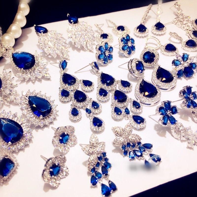 Vintage Drop Earrings For Women Solid 925 Silver Sapphire Luxury Bricnos Blue Cubic Zirconia Temperament Earring Fine Jewelry