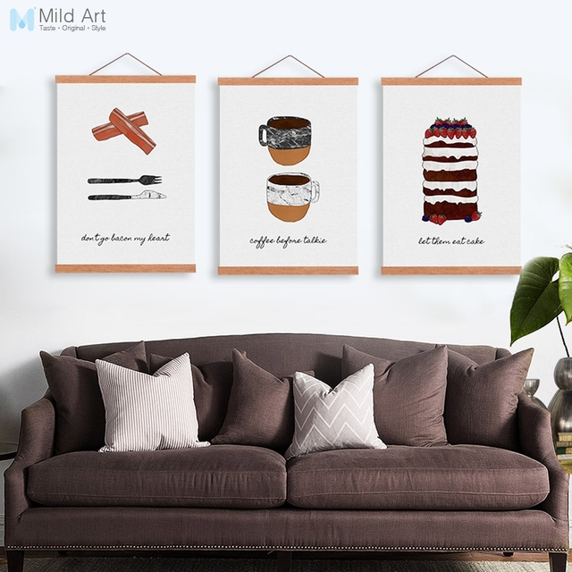 Vintage Food Coffee Nordic Kitchen Wooden Framed Canvas Painting ...
