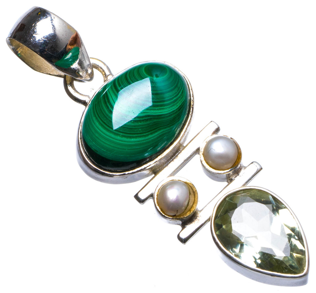 Natural Malachite,Green Amethyst and River Pearl Handmade Unique 925 Sterling Silver Pendant 1.75