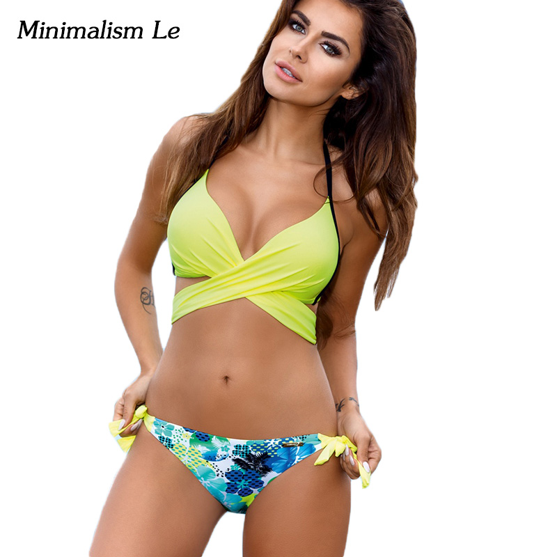 Minimalism Le Maillot Biquini 2017 Print Bandage Bikini Set Cross Patchwork Women Swimwear Swimsuit Push Up Bathing Suit BK759