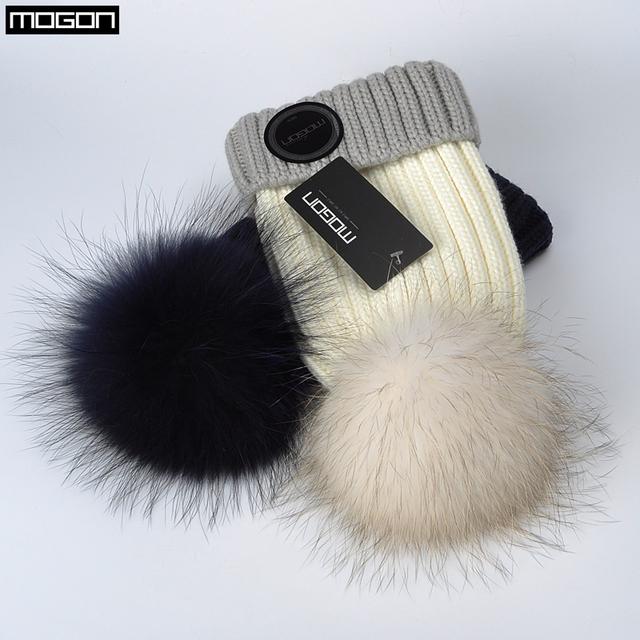 2016 Oferta Especial de Inverno Mink E Fox Cap Bola Pom Poms Hatknitted Gorros de Lã chapéu Para As Mulheres da Menina Nova Marca Thick feminino