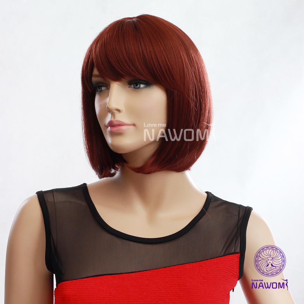 Neck Length Hairstyles image result for mid neck length hair styles Online Shop New European Kanekalon Neck Length Hairstyle Copper Red Blunt Bang Straight Bob Women Wigs With Wig Cap And Adjustable Buckle Aliexpress