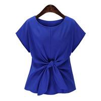 Fashion Chiffon Shirt Ladies Summer Style Bow O-neck Casual Blouse Short Sleeve O-neck Tops Women Chiffon Blouses ST212