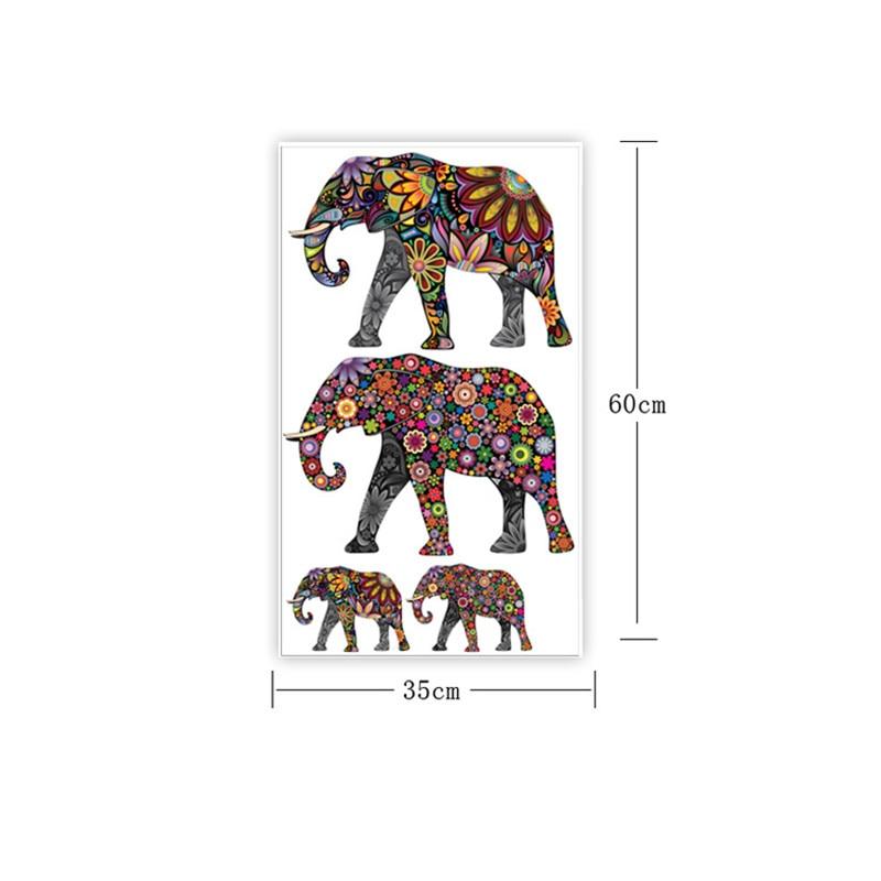 Elephant Flower pattern Wall Sticker Removable Decal Home Decor - Үйдің декоры - фото 2