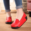 Women's Shoes Nnatural Leather 2017 Platform Women's Shoes Platform Wedges Shaking Increased Shoes High Heel Casual Fashion