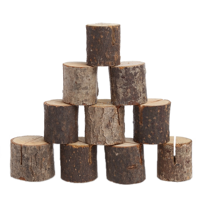 10pcs Wedding Wooden Place Card Holders Rustic Wood Table Number Holder Stands Sign for Home Party Decorations Photo Picture Memo Note Clip Holders