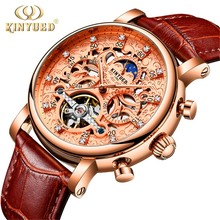 купить KINYUED New 2018 Men Full-automatic Mechanical Watch Tourbillon Luxury Fashion Brand Genuine Leather Man Multifunctional Watches по цене 2771.92 рублей