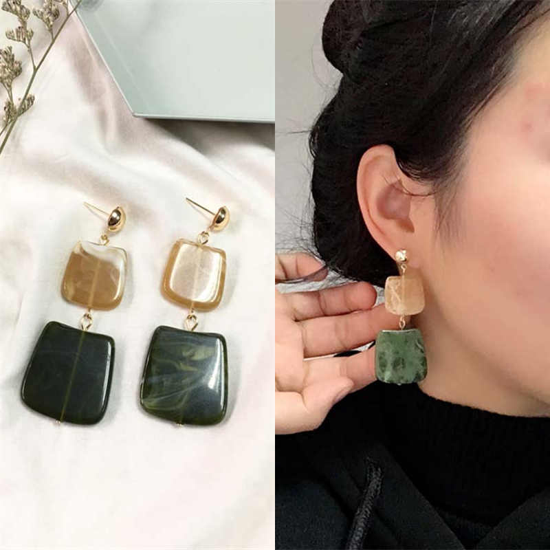 2018 New Hot Fashion Geometric Square Earrings Brincos Oorbellen Acrylic Connection Pendants Drop Earrings For Women Jewelry
