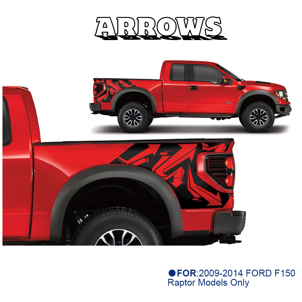 Tailgate Insert Graphics Stickers Decals For Ford Raptor 2015-2018 RED BLACK