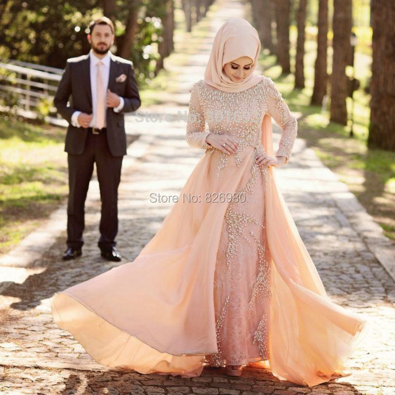 turc islamique robes de soire manches longues hijab musulman robes de soire perle lourde dentelle - Ruban Rouge Mariage Turc
