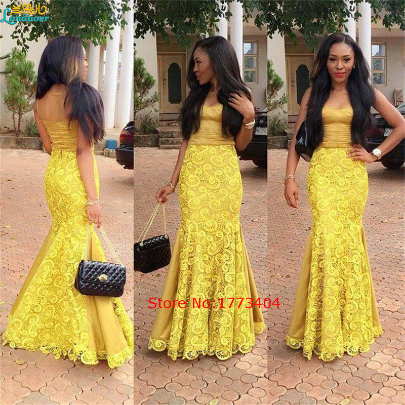 Aliexpress.com : Buy Vestido De Noche 2017 Custom Made Yellow Lace ...