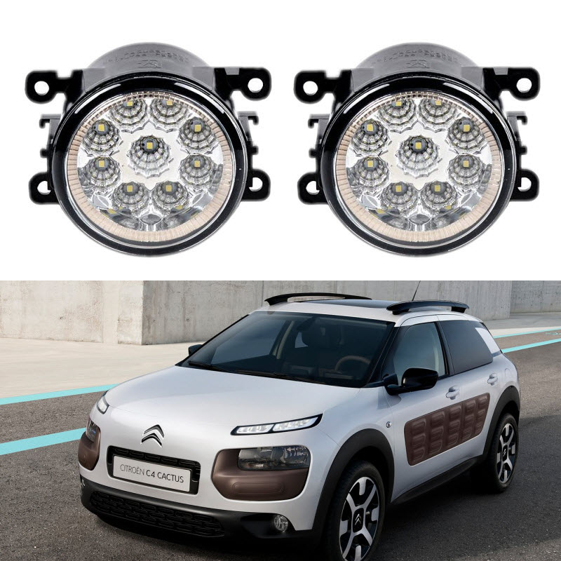 For Citreon C4 CACTUS 2014 2015 2016 Car Styling 9 Led Fog Lights 12V 55W Fog Head Lamp car styling for peugeot 3008 2008 2016 9 pieces led fog lights h11 h8 12v 55w fog head lamp