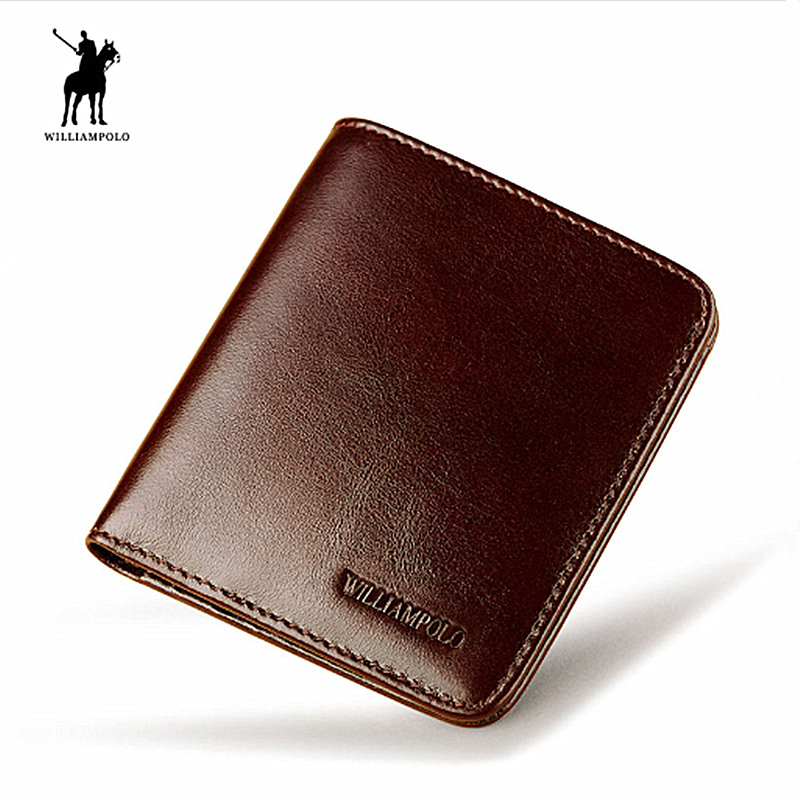 WILLIAMPOLO 2018Vintage Mini Wallet Men Purse Genuine Leather New 2 Fold Slim Wallet Card Holder For Man Minimalist Money Bag