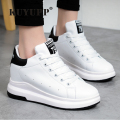 Hide Heel Wedge Leather Casual Shoes Woman 2017 Fashion Spring Lace Up Ladies Shoes Breathable Women White Shoes Superstars ZD39