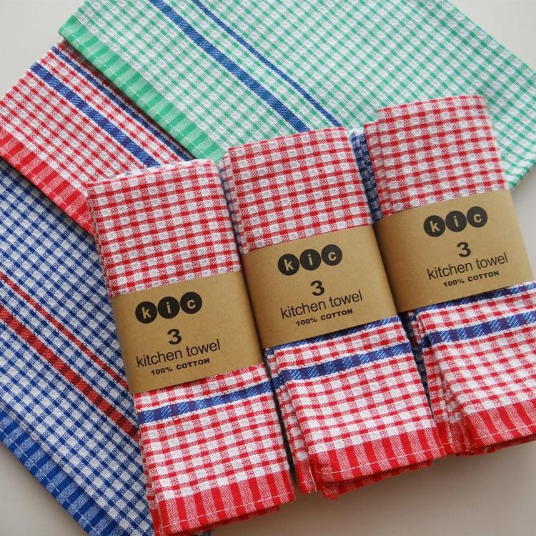 Kitchen Towels Bulk: 10PC/Lot OEM High Quality 100% Cotton Dish Cloth Plaid