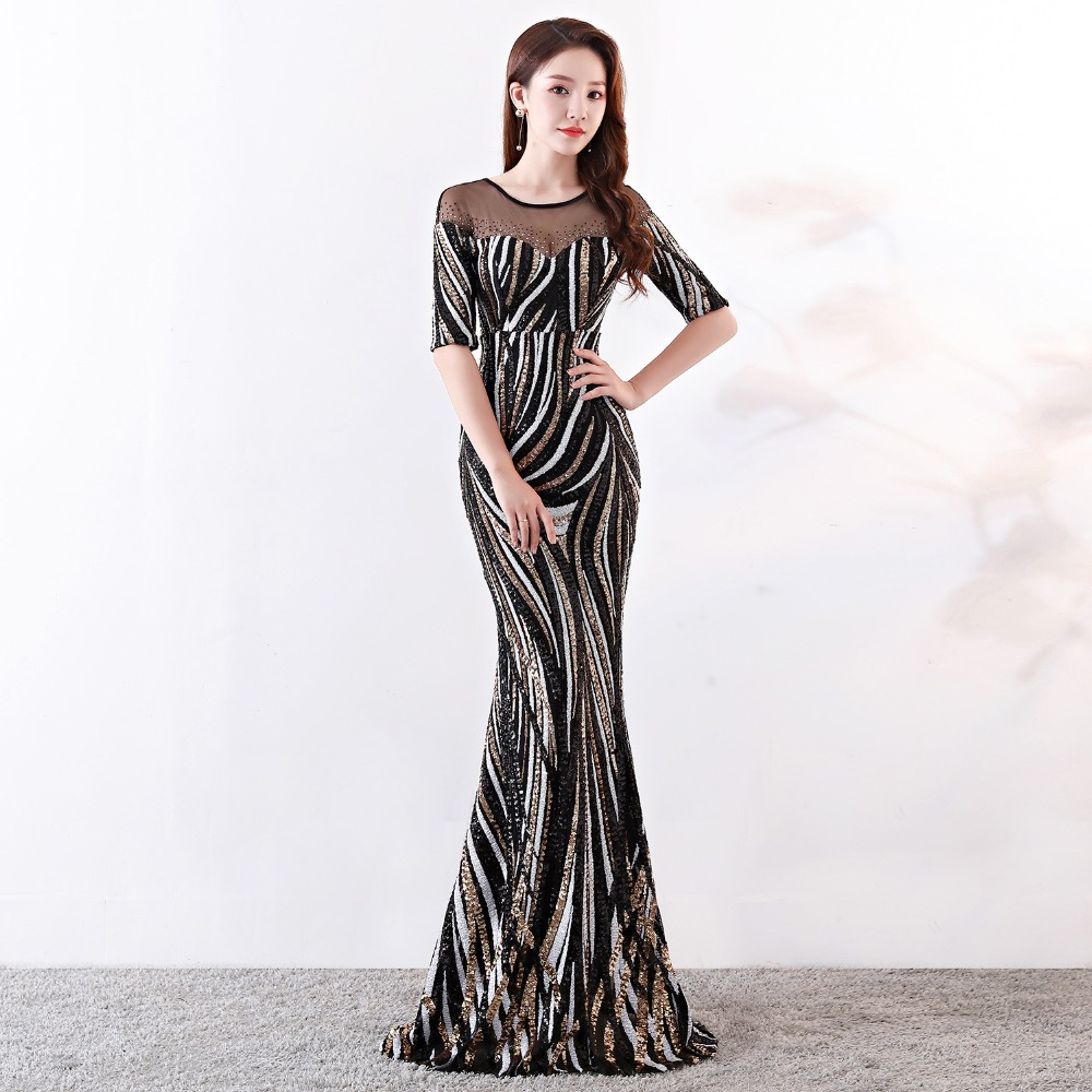 Elegant Crystal Beaded See Through Voile Shor Sleeve Mermaid Long Formal Dresses For Women 2018 Sexy Nightclub Wear Party Dress (18)