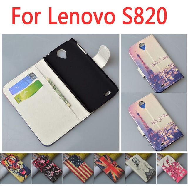 Luxury leather case for Lenovo S820 S 820 flip cover font b phone b font case