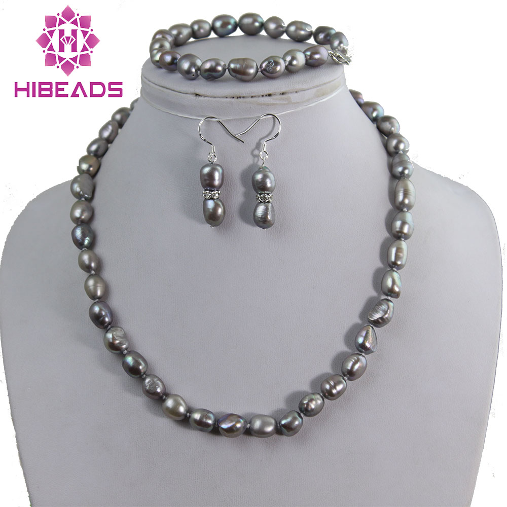 Pearl Set Baroque Style Grey Gray Pearl Jewelry Set 10mm Pearls