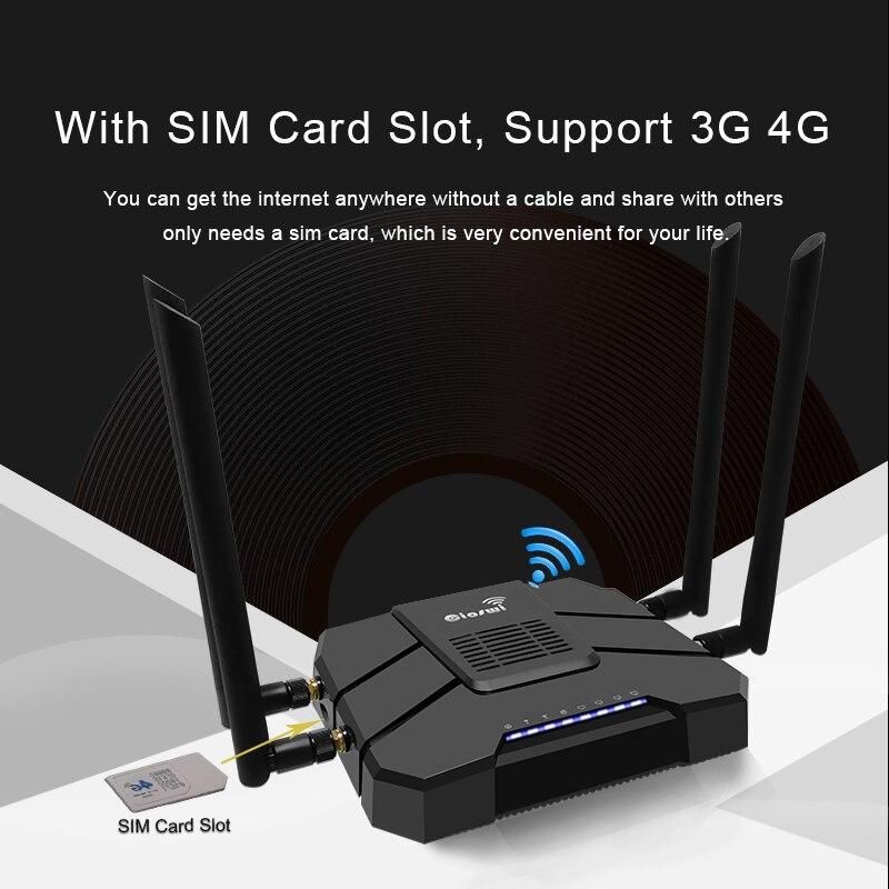 Cioswi WE1326 3g 4g Modem avec emplacement pour carte Sim routeur double bande MT7621A puce 802.11AC répéteur Wifi 5 GHz avec 4 antennes externes