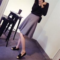 Women Winter Autumn Vintage Black High Waist Pack Hip Sexy Wool Knitted Skirt Korean Fashion Slimming