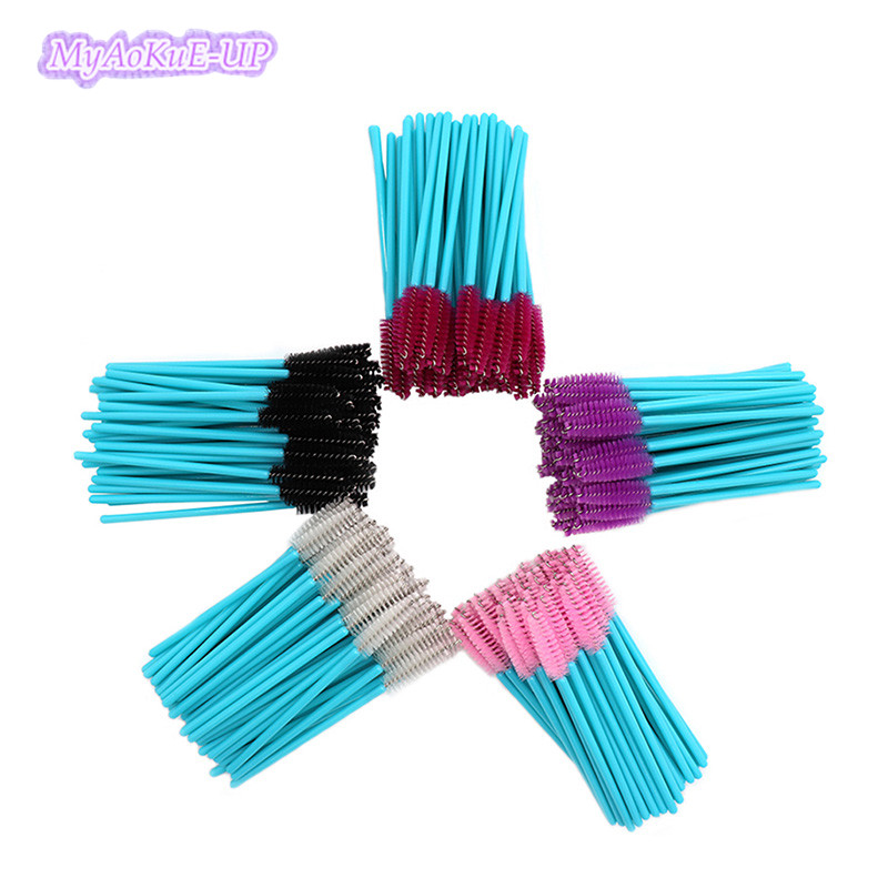 Mix Color 1000pcs Disposable Makeup Eyelash Brushes Mascara Brush Applicator Wand Eyelash Brow Comb Brushes Blue