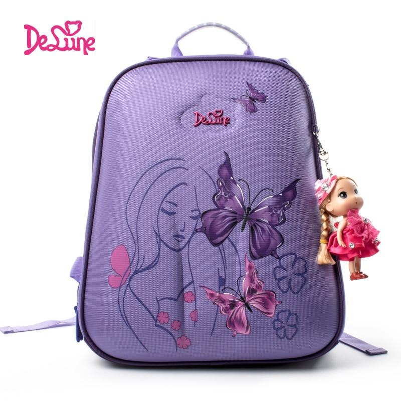 Delune Butterfly Pattern School Bags For Girls Boys Cartoon Large Backpack Children Orthopedic Backpacks Purple Mochila Infantil