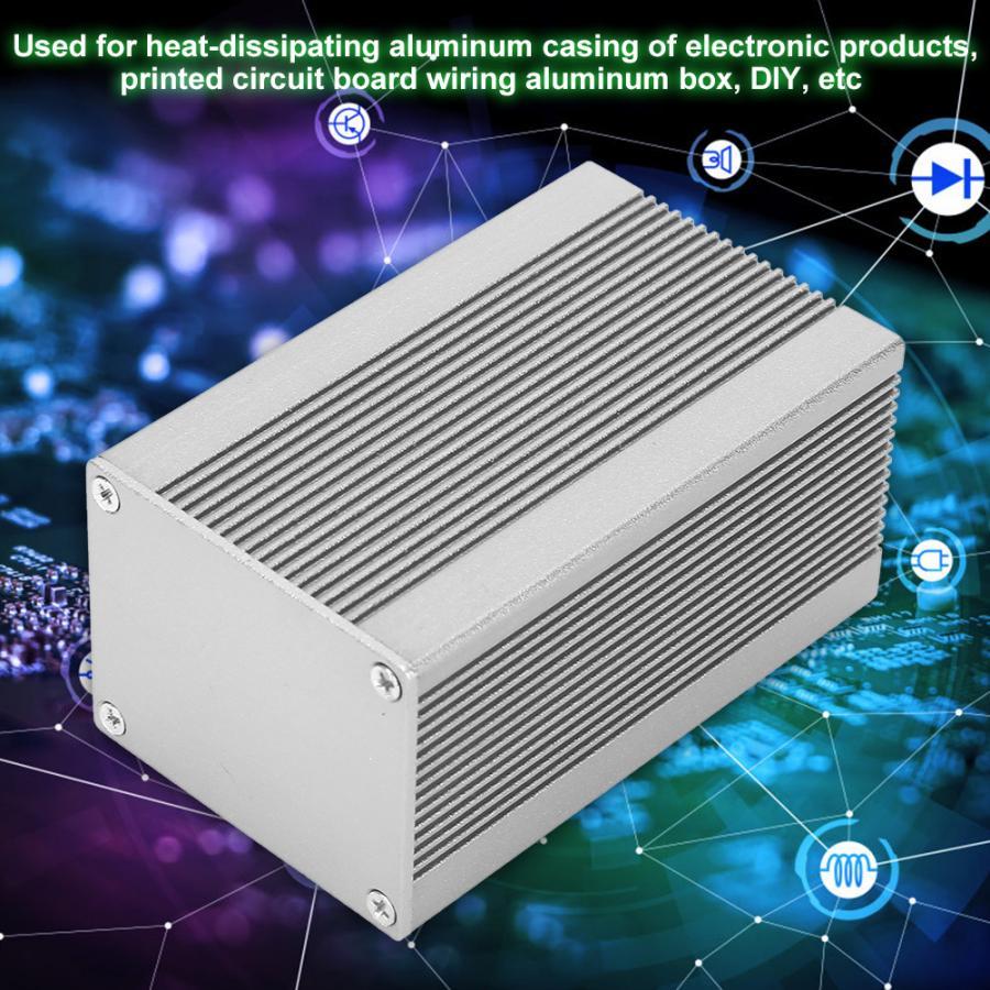 Silver Aluminum Enclosures PCB Instrument  Box Case DIY Aluminum Casing Cooling Box Electronic Project Enclosure Case